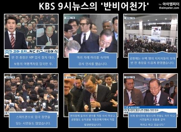 KBS의 반기문 전 총장 관련 '지지자 공항 운집… 철도 타고 서울역 이동' 뉴스