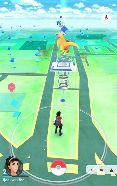 지난 1월 24일 국내 출시된 위치기반(LBS) 증강현실(AR) 게임 '포켓몬고'를 서울 중심가에서 실행했다. 사진은 게임의 지도 화면.