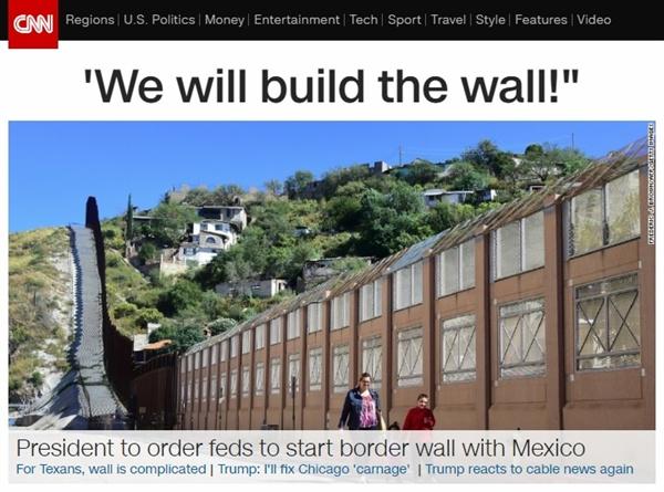 도널드 트럼프 미국 대통령의 미국-멕시코 국경 장벽 건설 강행을 보도하는 CNN 뉴스 갈무리.
