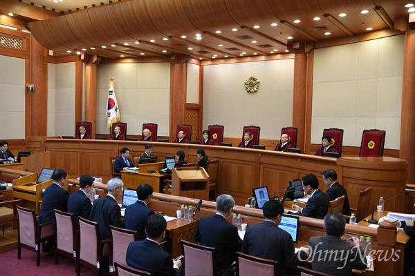7일 오전 서울 종로구 헌법재판소 심판정에서 박근혜 대통령 탄핵심판 11차 변론기일이 열리고 있다.