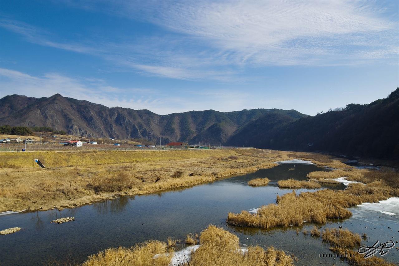 겨울 금강 파란 하늘과 갈색 식물들, 맑게 흐르는 강물이 함께 어우러져있다.