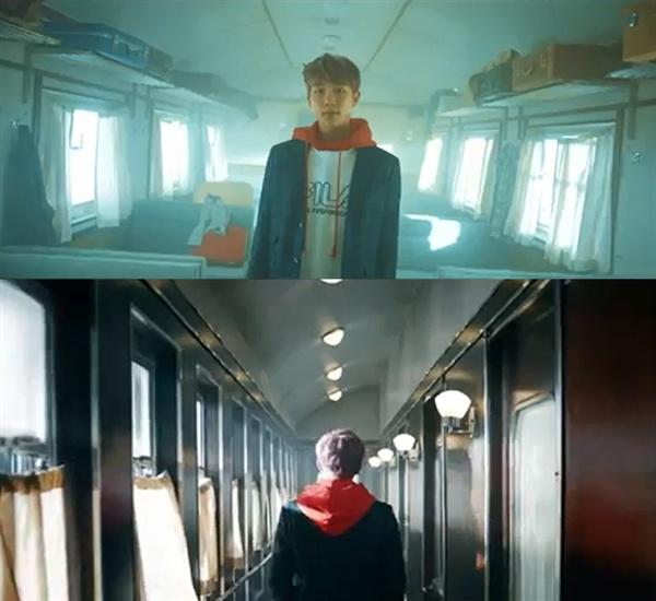 방탄소년단 '봄날' 뮤직비디오 중 열차 신.