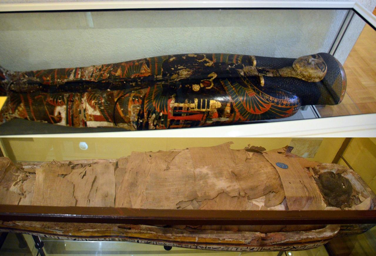 이집트관의 미라. 프랑스의 이집트 침공 당시 수집한 이집트의 미라들이 전시되어 있다.