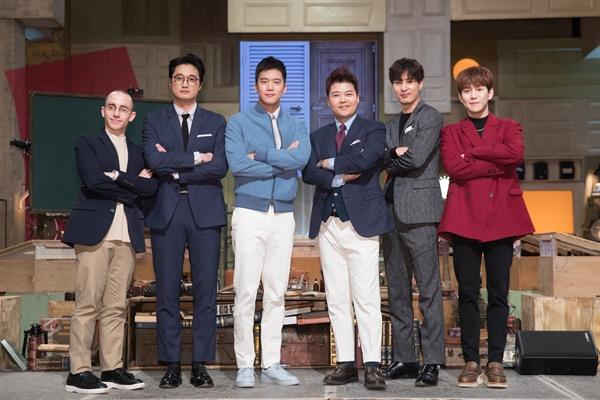 2017년 2월 16일 서울 가양동 CJ E&M 스튜디오에서 열린 tvN <뇌섹시대-문제적 남자> 100회 및 2주년 기자간담회. 전현무, 하석진, 김지석, 이장원, 박경, 타일러 라쉬