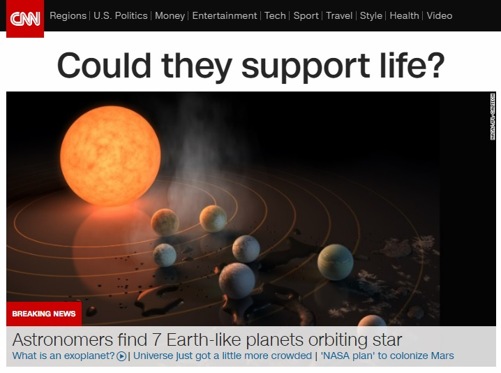 지구와 유사한 행성 발견을 보도하는 CNN 뉴스 갈무리.