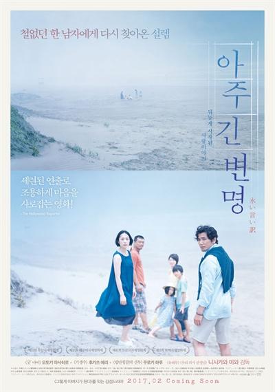 영화 <아주 긴 변명> 포스터. 유명작가가 불의의 사고로 아내를 잃고 난 후….