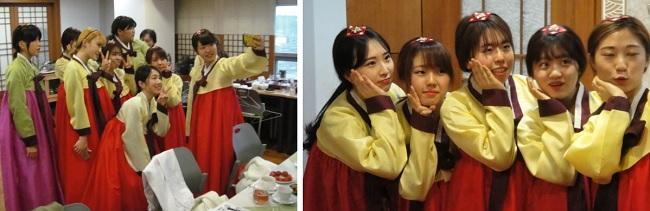 치마, 저고리를 입어 본 느낌은 한국의 문화를 몸으로 겪는 기쁨이기도 했습니다. 한양여자대학교 비서인재학과 김신연 교수님께서 도와 주셨습니다.