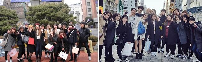 류코쿠대학과 상명대학교 학생들의 상호 교환 방문은 무엇보다도 즐거운 체험이었습니다. 왼쪽 사진은 서울 상명대학교 사슴상 앞이고, 오른쪽 사진은 오사카 시내입니다.