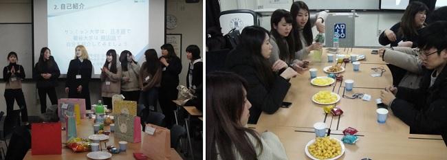 류코쿠대학 학생들이 상명대학교 한일문화콘텐츠학과를 찾아서 선물을 교환하거나 각자 준비한 두 나라 과자를 나누어 먹기도 했습니다.