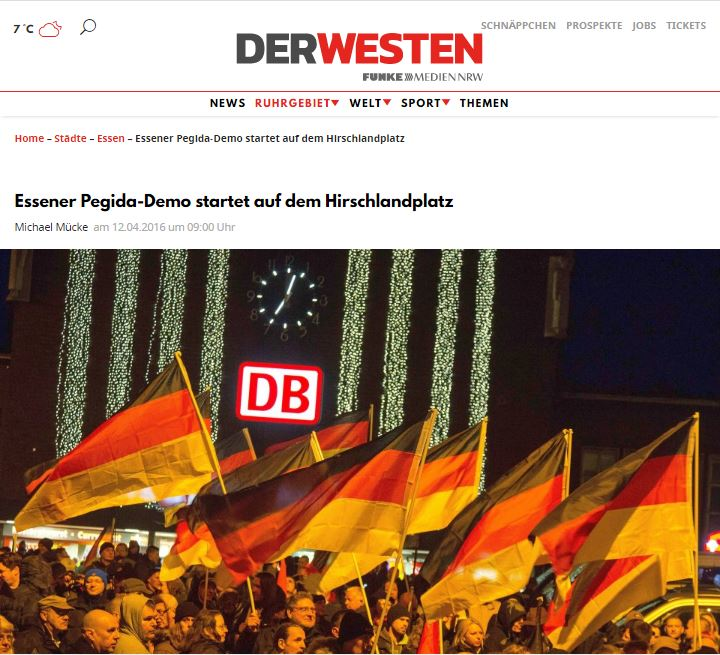 Derwesten 화면 캡처 자칭 애국유럽인들인 페기다가 독일 국기를 들고 집회를 하고 있다