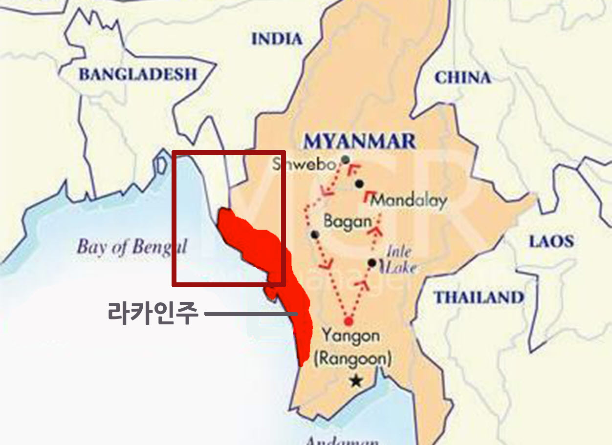 로힝야족이 거주하는 라카인주 북부 사진 로힝야족이 오래전부터 거주했던 방글라데시 국경과 미얀마 라카인 주 북부 사진