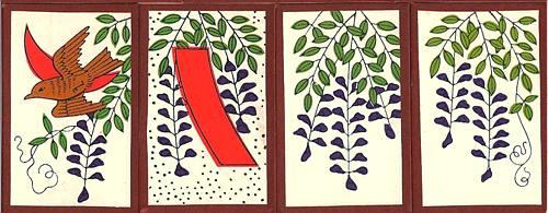 4월 화투 등나무 잎과 꽃 4월 화투 등나무 잎과 꽃