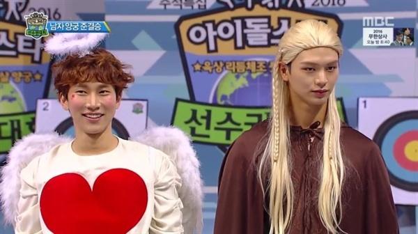 비투비의 서은광(왼쪽), 육성재는 지난해 9월 MBC 아이돌육상대회에서 파격 분장으로 큰 웃음을 선사했다.