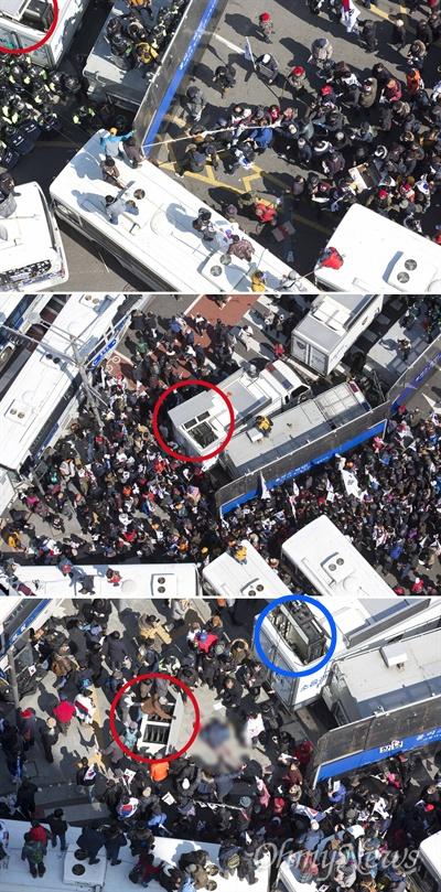 10일 오후 서울 재동 헌법재판소 앞에서 박근혜 대통령의 탄핵이 인용 되자 '대통령 탄핵 기각을 위한 국민총궐기 운동본부(탄기국) 소속 박사모등 친박단체 회원들이 경찰차벽에 밧줄을 걸고 헌법재판소 진입을 시도했다.   3미터 가량 틈이 생기자 집회 참가자들이 진입을 시도했다. 경찰 방송차량 위에 스피커(빨간색 원)가 낮 12시 25분께 아래로 추락하면서 옆을 지나던 참가자를 덮쳤다.  집회 참가자가 피를 흘리며 바닥에 쓰러져 있고, 그 옆에 스피커(빨간색 원)가 놓여있다. 방송차량 위로 부러진 스피커 지지대(파란색 원)가 보인다.
