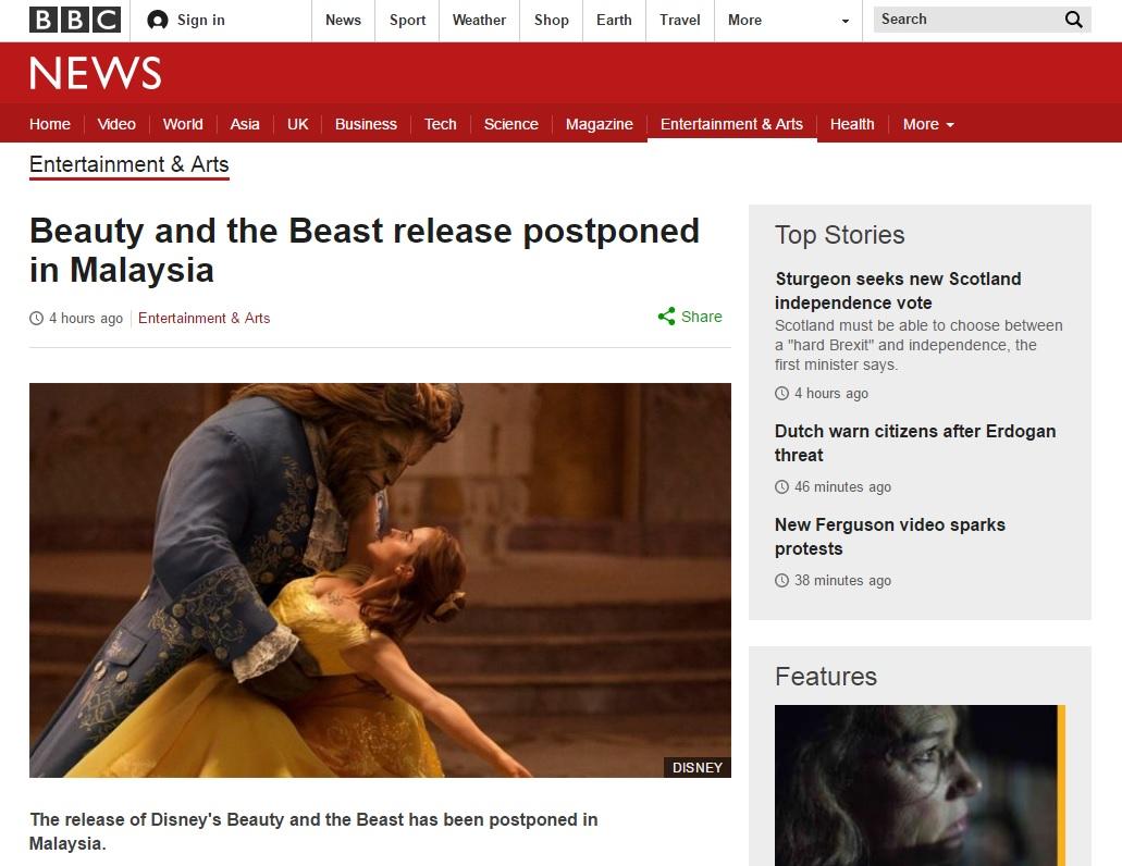 <미녀와 야수>의 말레이시아 개봉 연기를 보도하는 BBC 뉴스 갈무리.