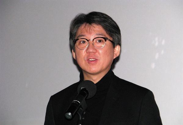 지난 1월 20일 한국영화아카데미 졸업영화제에서 축사하고 있는 김세훈 영진위원장.
