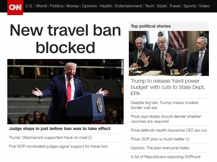 미국 법원의 새 반이민 행정명령 효력 중지를 보도하는 CNN 뉴스 갈무리.