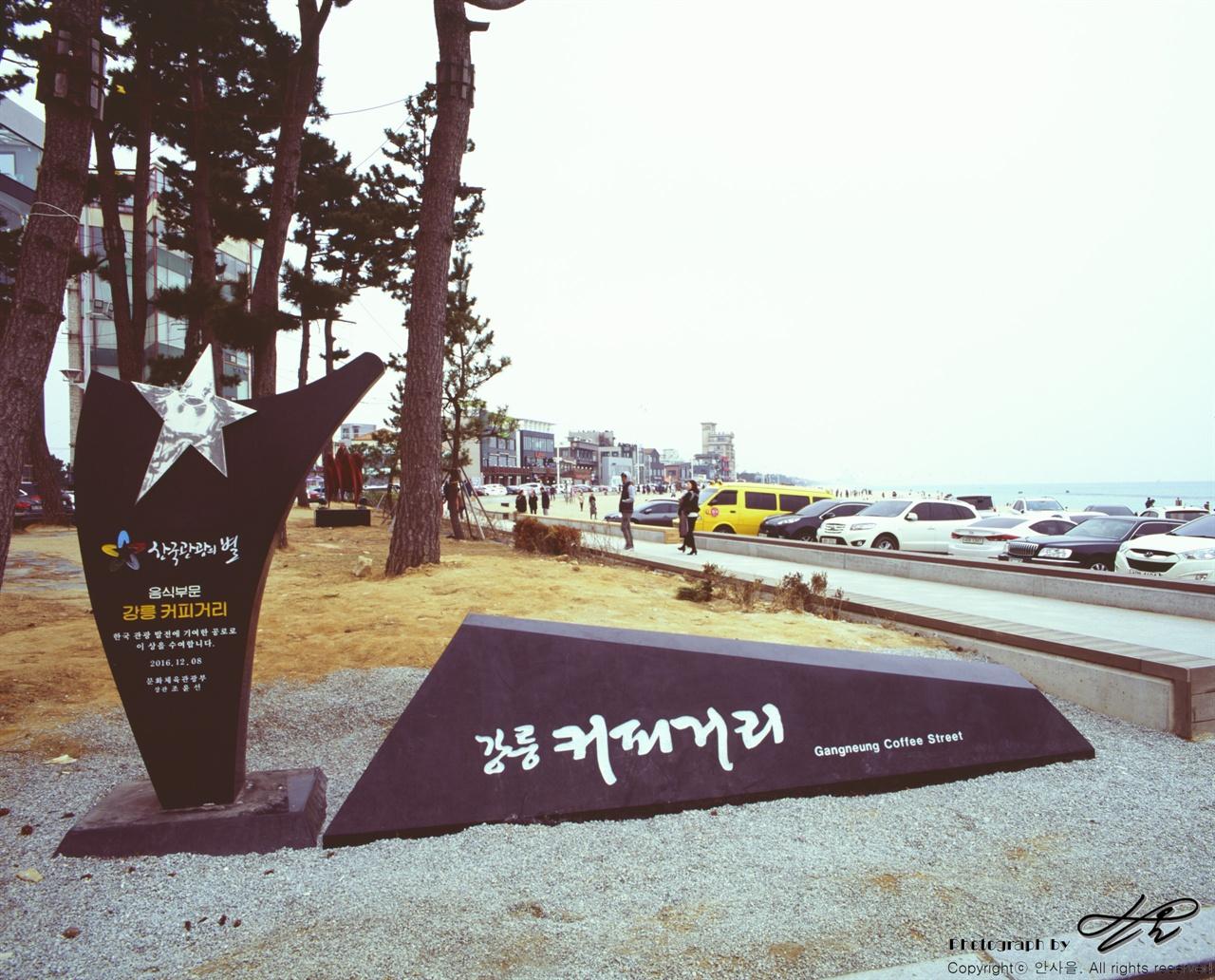 커피거리 안목해변으로 카페가 즐비하게 늘어서있다. 날씨가 상당히 좋지 않았지만 사람들이 꽤 많았다.