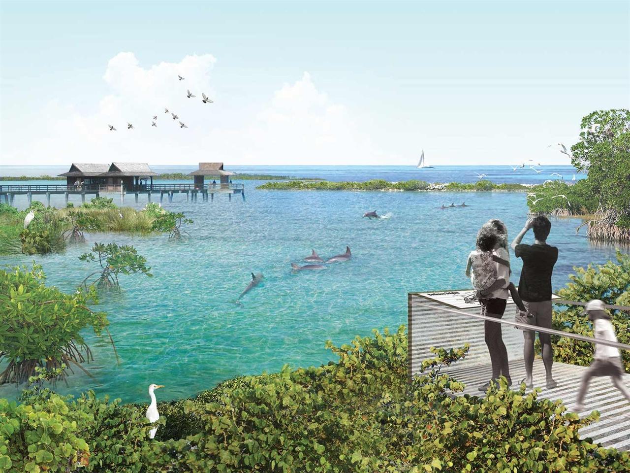 돌고래 바다쉼터의 미래 모습 미국에서 시민 모금을 통해 실제로 추진되고 있는 돌고래 바다쉼터의 모습입니다. 출처 볼티모어 국립수족관 홈페이지 National Aquarium https://aqua.org/press/news/2016/16-06-14-dolphin-sanctuary