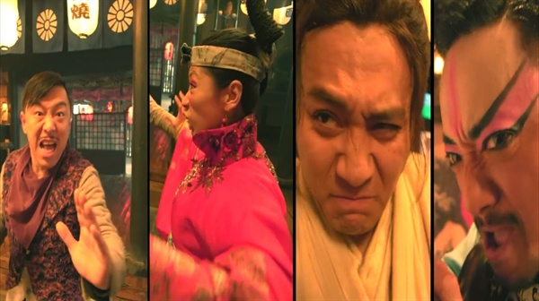 왼쪽부터 희자, 벙어리 아내, 주자, 희자 등장인물들의 코믹 연기와 호흡이 영화의 재미를 더 한다.
