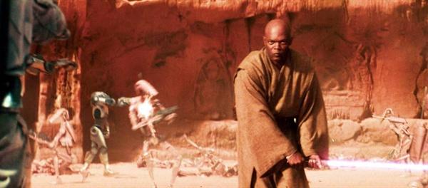 <스타워즈 에피소드2 - 클론의 습격>에 출연했던 사무엘 L. 잭슨의 모습.