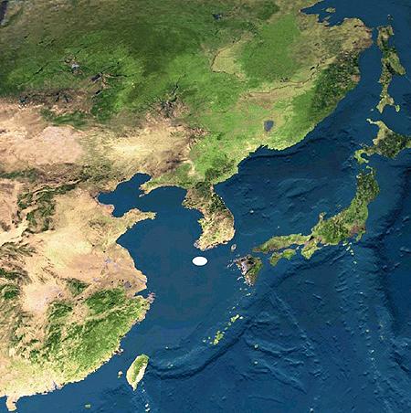 동북아시아 정중앙에 위치한 제주도(흰색). 제공=김종민. ⓒ제주의소리