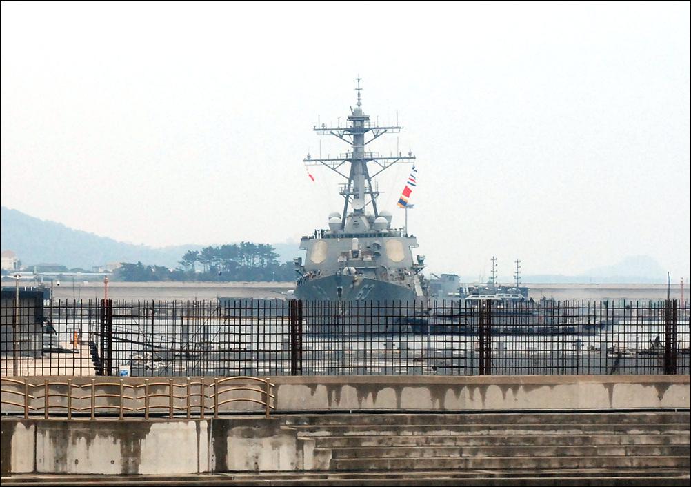 25일 9시 15분경 미해군 스테뎀함이 제주해군기지에 입항했다.