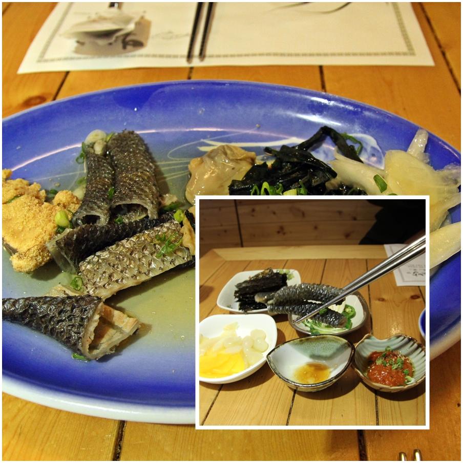 도미알과 도미껍질 조갯살 미역과 양파가 한데 어우러진 음식이다.