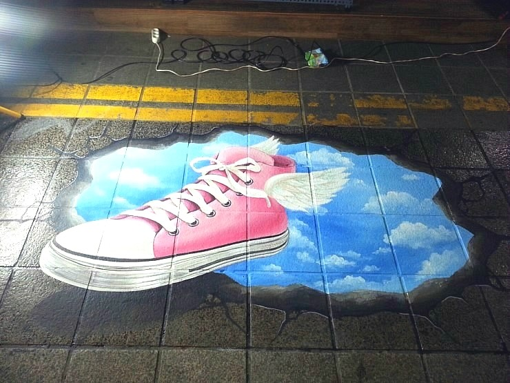 암사시장 전통시장 바닥 벽화