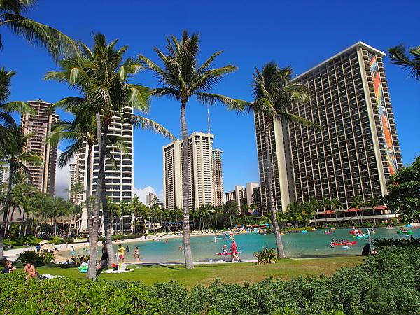 하와이 최고 명당인 와이키키 해변 모습