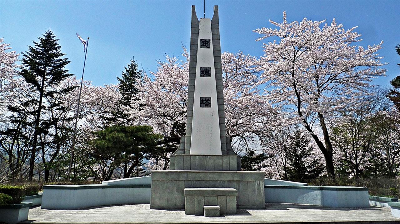 충혼탑 현산공원에 설치된 기념탑 가운데 가장 높은 높이 8.85m, 가로 4.5m로 3.1운동 당시 돌아가신 순국선열과 6.25동란과 베트남전쟁에 참전해 산화한 양양출신 315위의 넋을 추모하고자 1966년 6월 6일 건립되었다.