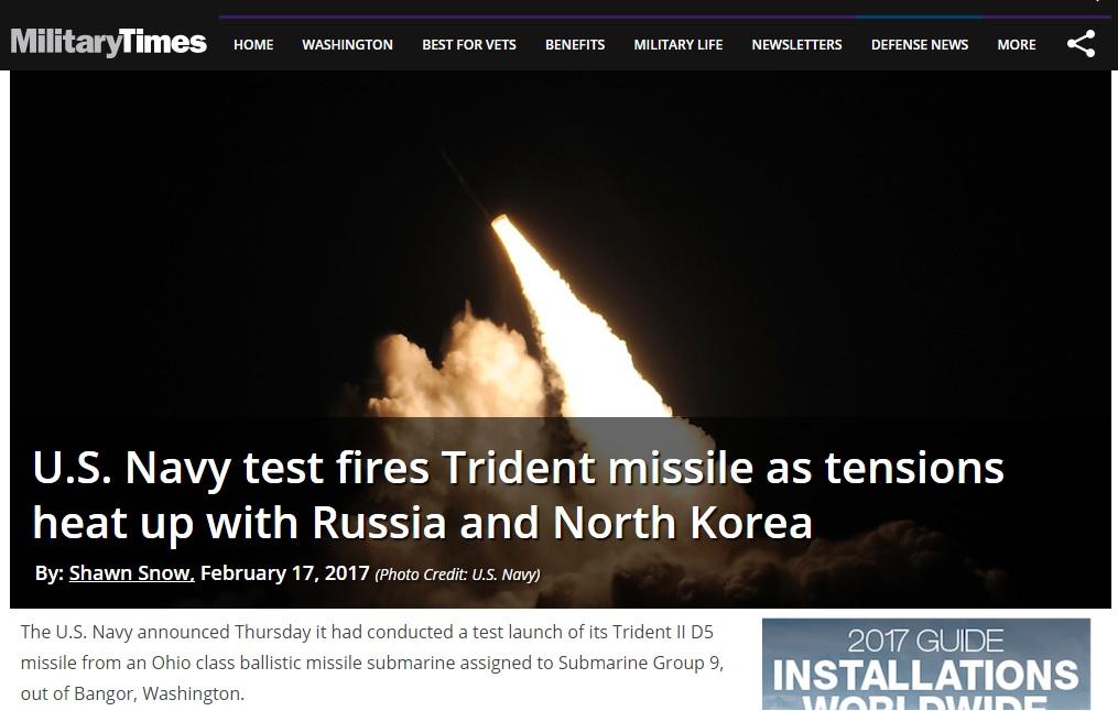 미국 해군이 메가톤급 SLBM 발사 실험을 하였다는 Military Times 보도. 미국은 올해에만 사거리 12,000km에 이르는 SLBM과 ICBM 발사 실험을 하였다. 이 미사일은 미국 본토에서 30분만에 평양을 타격할 수 있다고 한다.