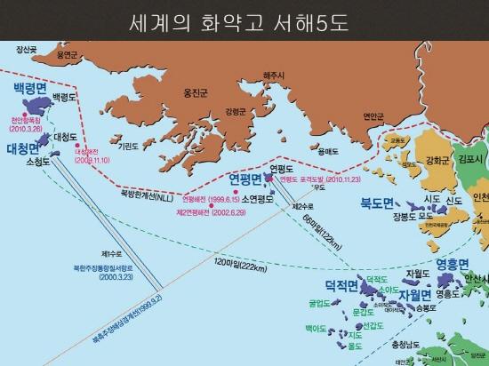 북방한계선 우리 정부는 서해5도에 대한 실효적 지배와 1991년 체결한 남북기본합의서를 토대로 북방한계선 이남에 대한 영유권을 주장하고 있지만, 북한은 서해5도와 연안 해역 일부만 남한 영토로 인정할 뿐, 북방한계선을 군사분계선으로 인정하지 않고 있다. 북한이 주장하는 분계선은 우도에서 대각선으로  그어진 선이다. 이 때문에 서해에서 대청해전과 연평해전, 연평도 포격사건 등 국지전이 지속적으로 발생하고 있다.