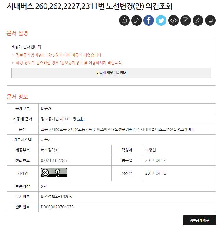 '비공개'로 제출된 서울시내버스 노선변경안.