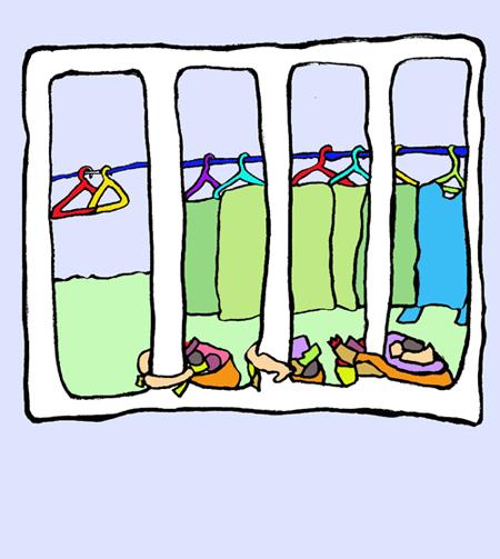 매달린 사람들 자루는 바닥에 떨어지지 않으려고 철장에 팔을 감싸고 매달려 있다.