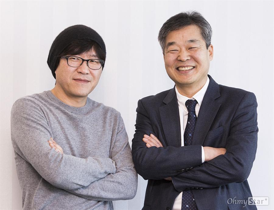 김익중 교수가 탈핵 상업 영화를 만들기 위해 혼자 동분서주 하던 차에 만난 영화 '판도라' 박정우 감독. 그 당시를 '소름이 돋았다'고 회상했다. 오른쪽이 김익중 교수.