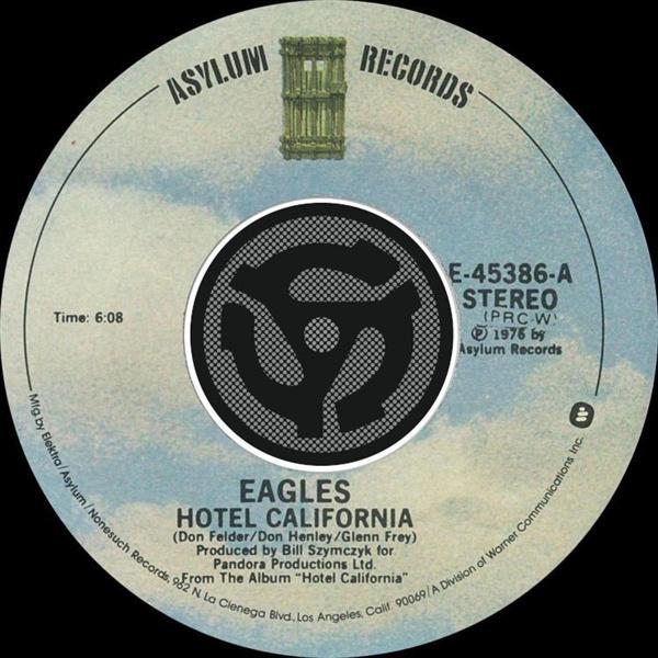록그룹 이글즈의 'Hotel California' CD 싱글.  동명곡을 포함 총 2곡이 수록되어 있다.