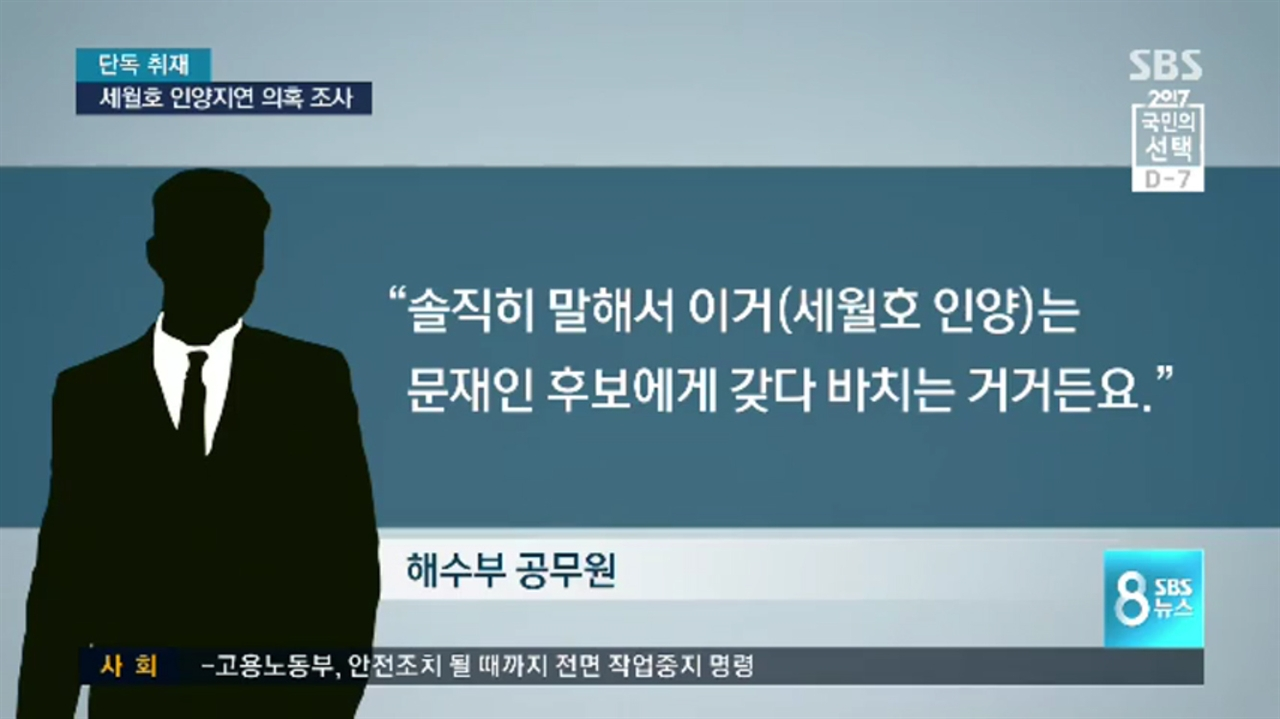 SBS는 2일 익명의 해수부 공무원 말을 빌려 세월호 인양이 문재인 후보에 갖다 바치는 것이라고 주장했지만, 문재인 후보쪽은 거래 의혹을 전면 부인했다.
