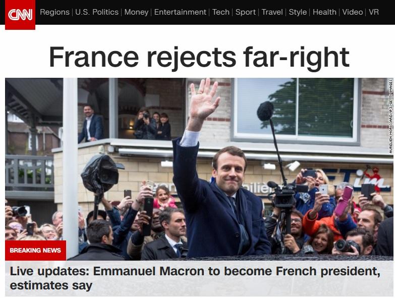 에마뉘엘 마크롱의 프랑스 대선 결선 투표 승리를 보도하는 CNN 뉴스 갈무리.