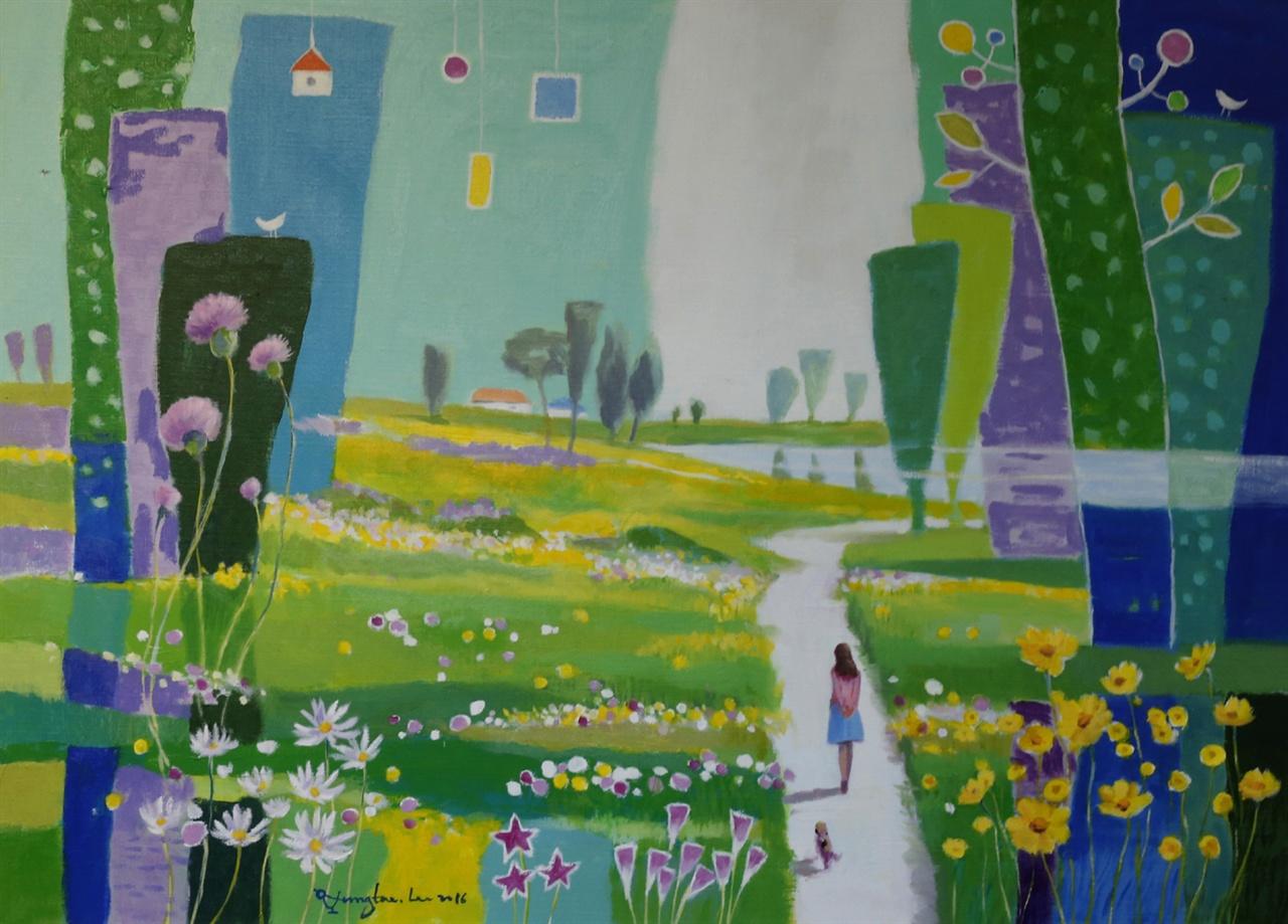 이성태 화백의 작품 '영산강을 거닐다'. 이 화백의 그림에는 등대나 자전거, 여인이 늘 등장한다.