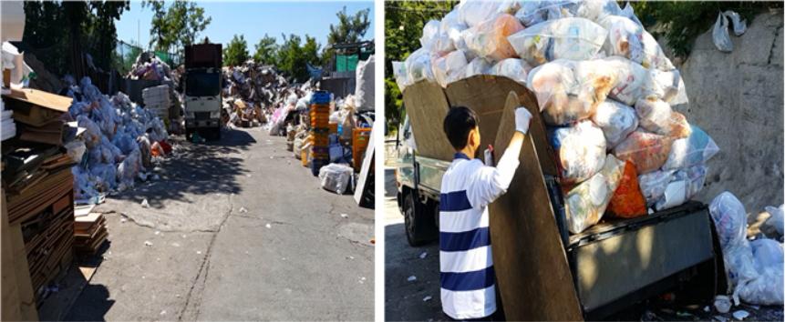 쓰레기 하치장의 모습. 대학교 시설 중 가장 외진 곳에 있는 하치장에는 하루에도 수천 봉지의 쓰레기가 오간다.
