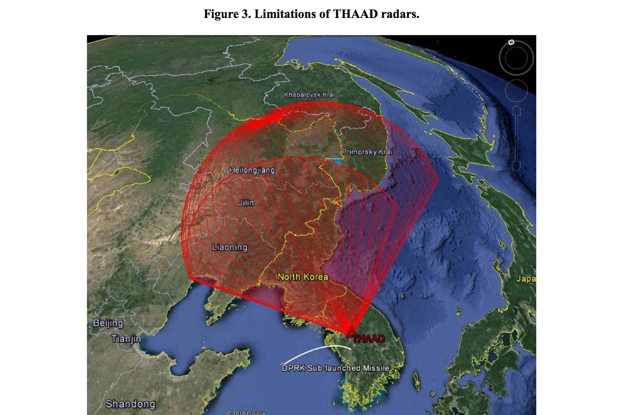 북한 전문매체 '38 North'의 보고서에 수록된 이 사진은 사드의 본질과 한계에 대해 많은 점을 말해준다. 하나는 중국의 우려대로, 레이더가 중국 정찰 기능을 수행한다는 점이고, 다른 하나는 북한의 미사일 감시에 비효율적이라는 점이다. 그림이 보여주듯, 해상에서 발사된 미사일은 레이더에 전혀 포착되지 않는다.