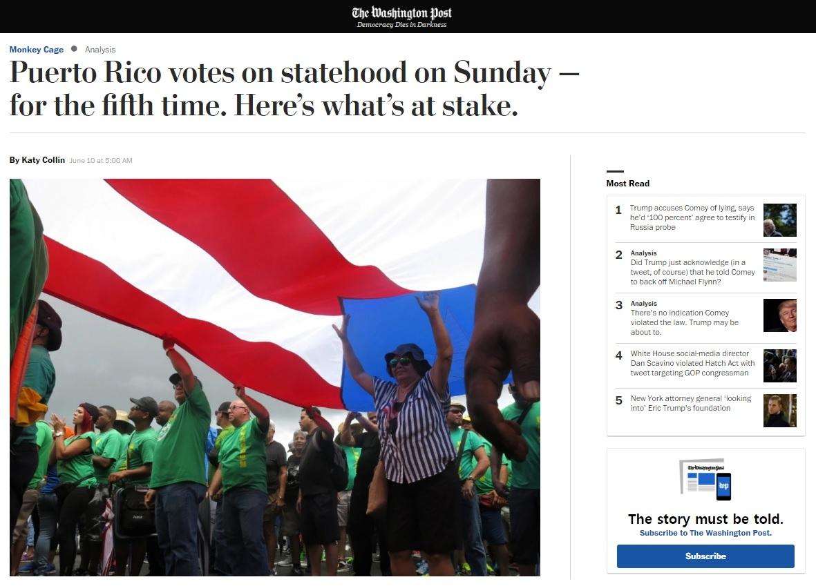 푸에르토리코 국가 지위 변경에 관한 주민투표를 전망하는 <워싱턴포스트> 갈무리.