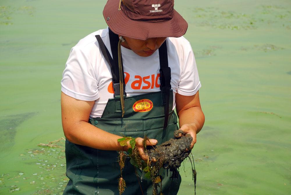 바지 장화를 입고 강물 속으로 들어간 학생이 강바닥에서 퍼 올린 것은 시궁창에서나 봄 직한 시커먼 펄이었다.