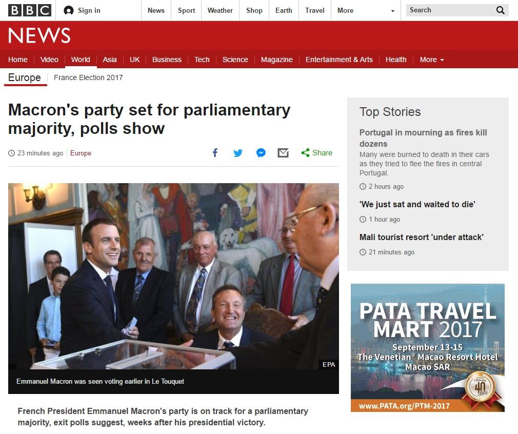 에마뉘엘 마크롱 프랑스 대통령의 총선 승리를 보도하는 BBC 뉴스 갈무리.