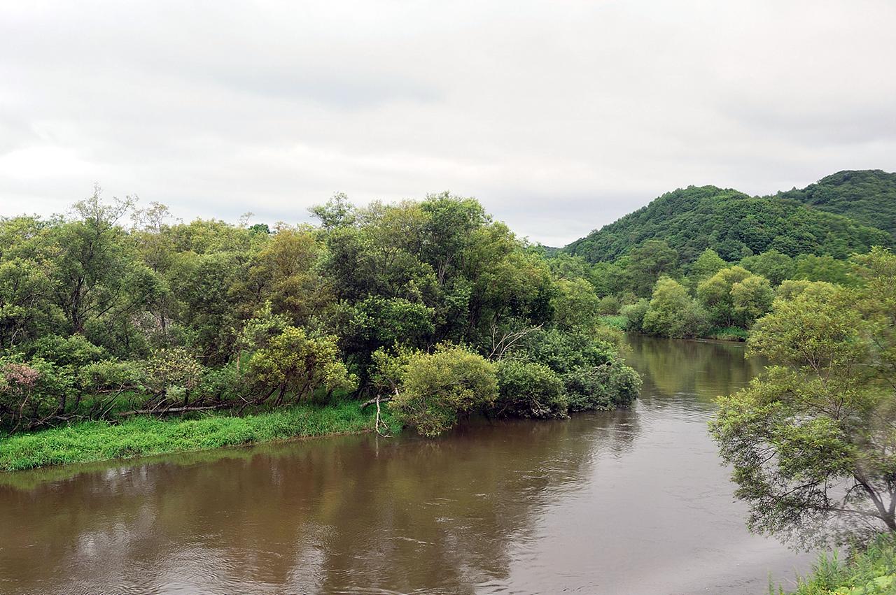 구시로습노롯코에서 바라본 구시로강 구시로습원노롯코열차에서 바라본 구시로강