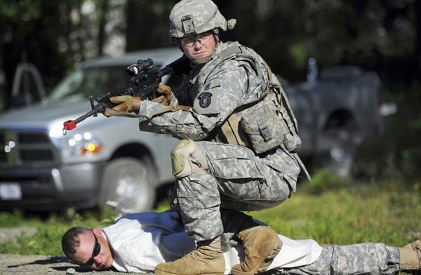 미군이 기지 방어 훈련을 진행중인 모습<자료사진>
