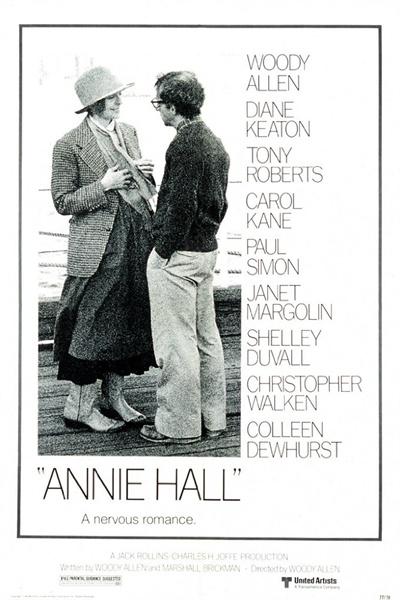 영화 <애니 홀>(1977)의 포스터. 우디 앨런에게 아카데미 4개 부문 수상의 영광을 안기며 그를 주류 감독으로 격상시킨 영화.