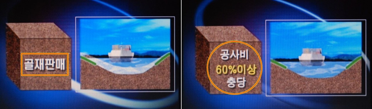 4대강에서 파낸 모래로 공사비의 60%를 충당한다고 호언장담했는데...
