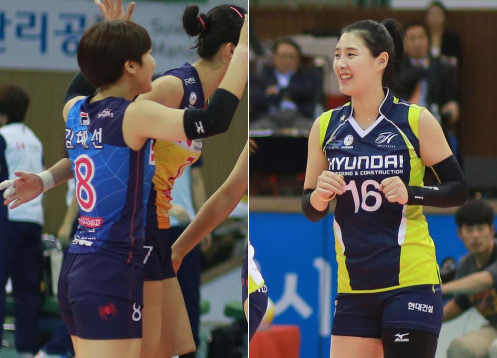 김혜선과 김주하(오른쪽) 선수